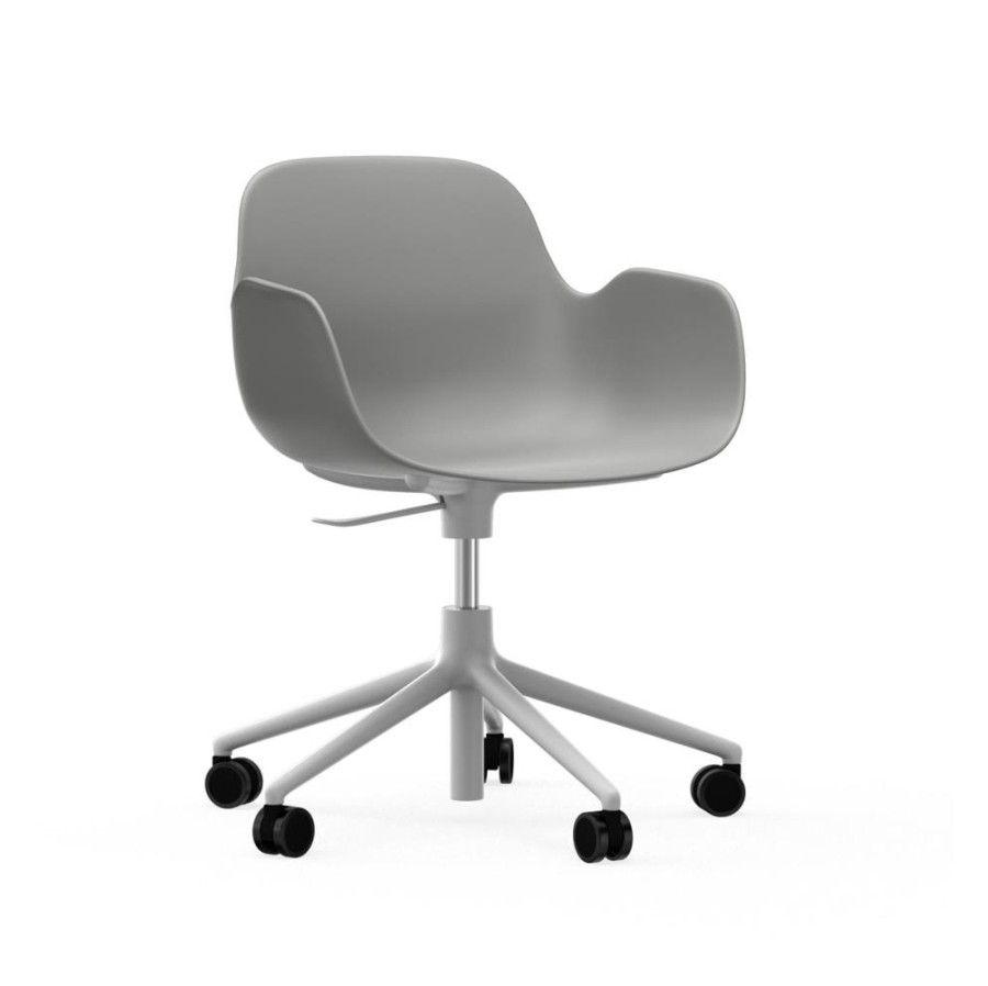 Krzesło Biurowe Form Z Podłokietnikami Biała Podstawa Szare Normann