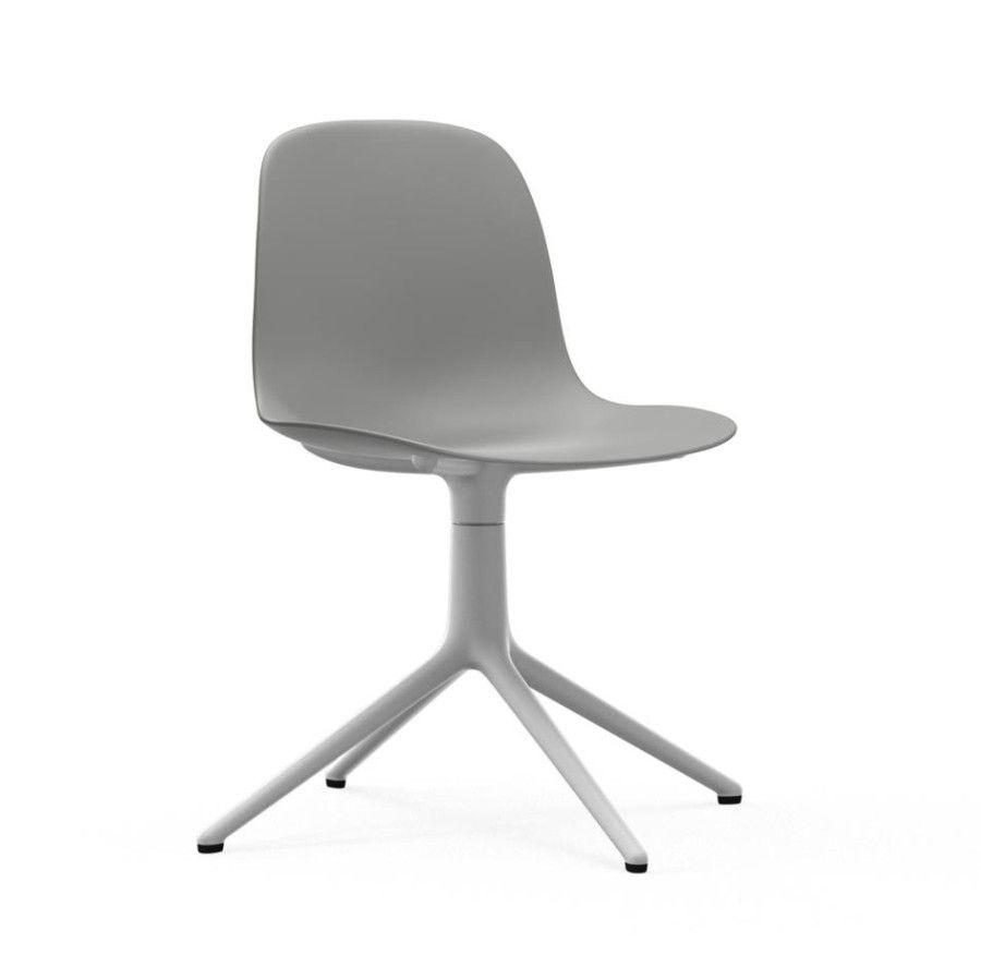 Krzesło Obrotowe Form Biała Podstawa Szare Normann Copenhagen