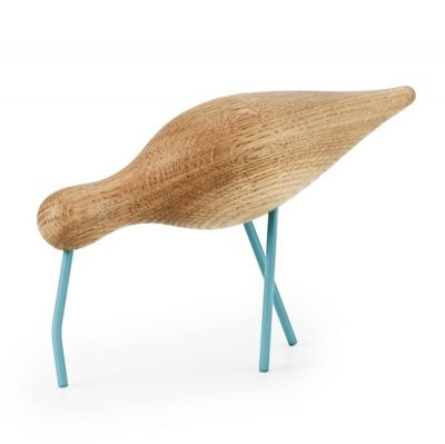 DECORATIVE FIGURE SHOREBIRD LARGE BLUE-OAK NORMANN COPENHAGEN