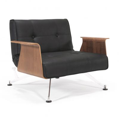 ARMCHAIR CLUBBER WITH ARMRESTS BLACK-BROWN INNOVATION