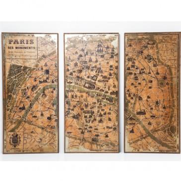 OBRAZ TRIPTYCHON PARIS MAP KARE DESIGN