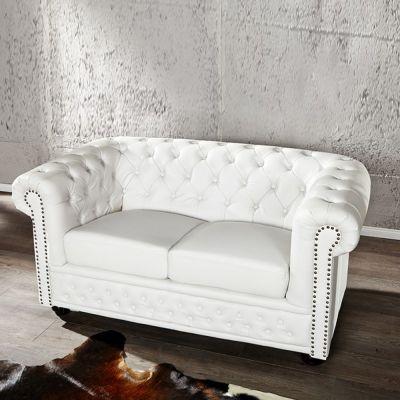 SOFA CHESTERFIELD BIA£Y MAT