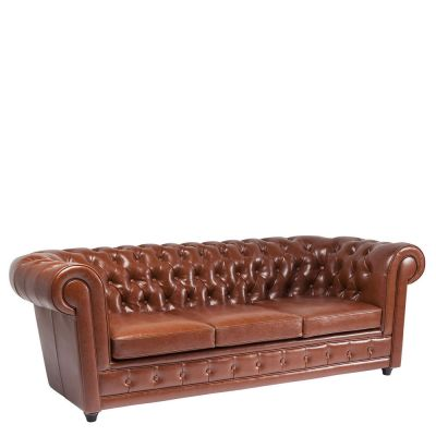 SOFA OXFORD 3-miejscowa BYCAST LADER COGNAC KARE DESIGN