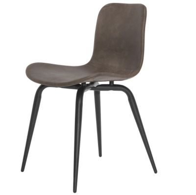 CHAIR LANGUE AVANTGARDE BLACK METAL - BROWN LEATHER NORR 11