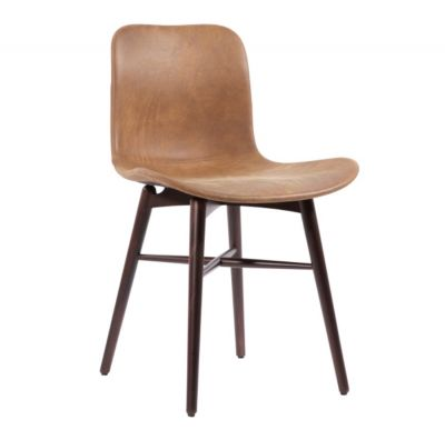LANGUE ORIGINAL STAINED BEECH LEATHER CHAIR NORR 11