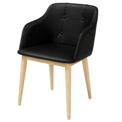 MARICA UPHOLSTERED CHAIR LEATHER RUBBERWOOD