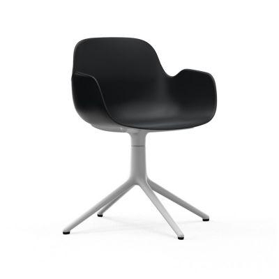 Form Swivel Armchair black white aluminum NORMANN COPENHAGEN