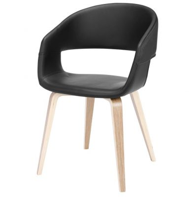 CHAIR UPHOLSTERED MESTA BLACK NATURAL OAK