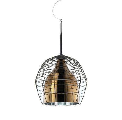 CAGE GRANDE PENDANT LAMP BROWN SHADE WITH BROWN STEEL DIESEL&FOSCARINI