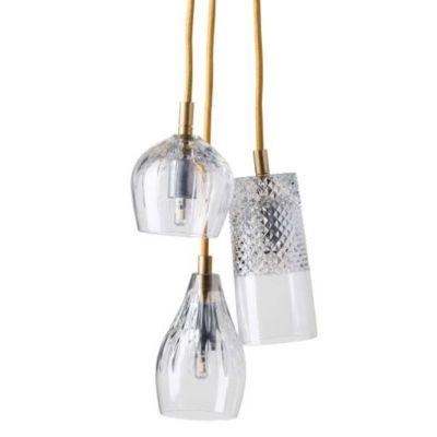 HANGING LAMP CRYSTAL GROUP 3 GOLD EBB&FLOW