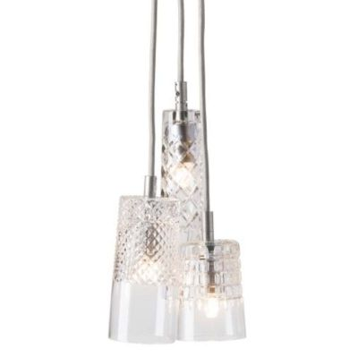 HANGING LAMP CRYSTAL GROUP 3 EBB&FLOW SILVER