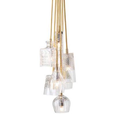HANGING LAMP CRYSTAL GROUP 7 GOLD EBB&FLOW