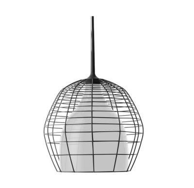 CAGE PICCOLA PENDANT LAMP WHITE SHADE WITH BLACK STEEL Diesel&Foscarini