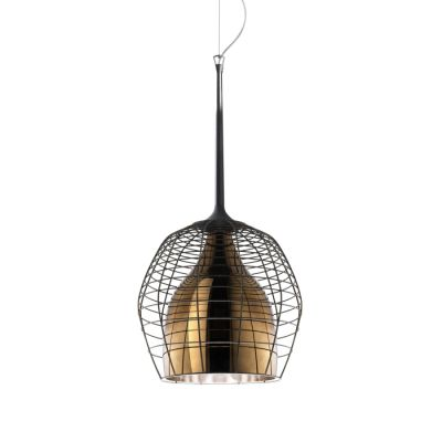 CAGE PICCOLA PENDANT LAMP BROWN SHADE WITH BROWN STEEL Diesel&Foscarini