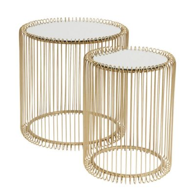 STOLIK WIRE BRASS 2 SET KARE DESIGN