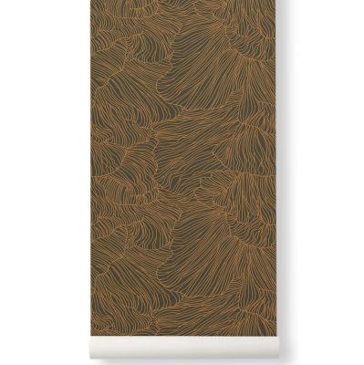 Tapeta coral zielono-złota ferm living