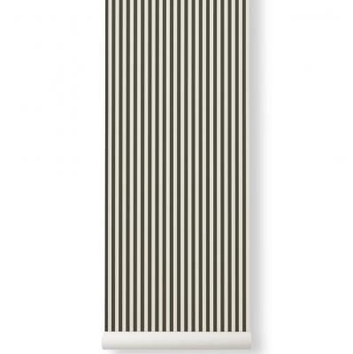 Tapeta lines zielona-złamana biel ferm living