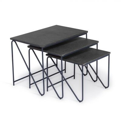 TRIPTYCH NESTING TABLES lava stone Please Wait to be Seated