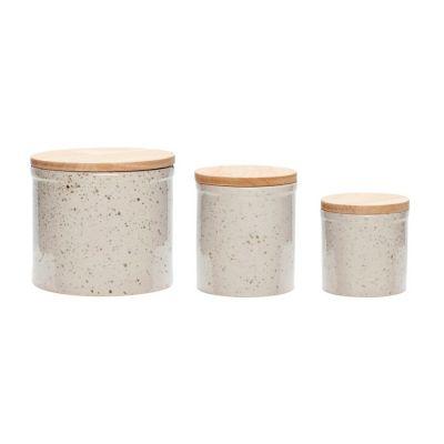 ZESTAW 3 ceramicznych POJEMNIKÓW z przykrywkami HUbsch