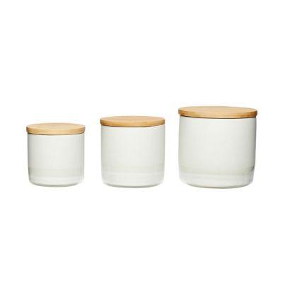 ZESTAW 3 ceramicznych POJEMNIKÓW z pokrywkami HUbsch