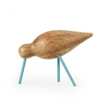 DECORATIVE FIGURE SHOREBIRD MEDIUM BLUE-OAK NORMANN COPENHAGEN
