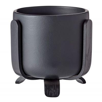 Rootlet flowerpot small black Bolia