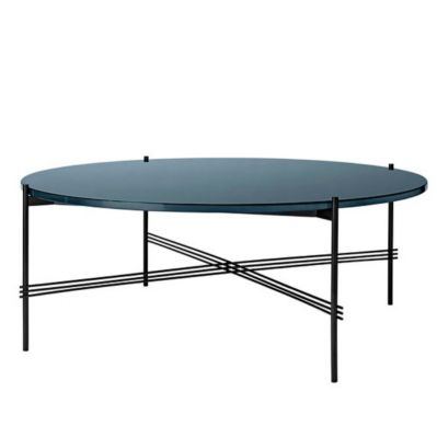 COFFEE TS TABLE TABLE OF 80 CM BLACK BASE GLASS TOP GUBI