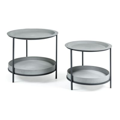 SET OF 2 CEMENT TABLES ETIENNE