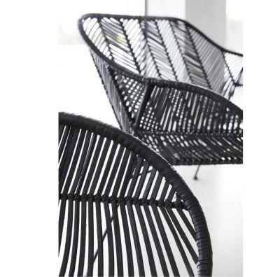 krzes³o rattanowe okr±g³e czarne HUbsch
