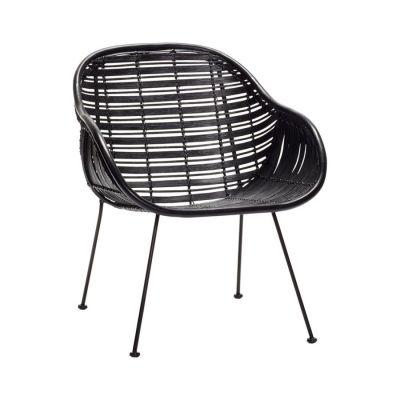krzes³o rattanowe z pod³okietnikami czarne HUbsch