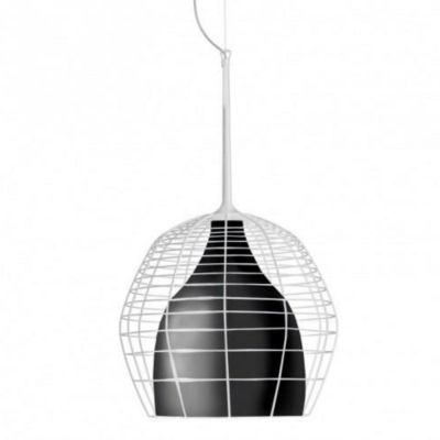 CAGE PICCOLA PENDANT LAMP BLACK SHADE WITH WHITE STEEL Diesel&Foscarini