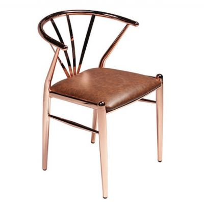 CHAIR SIGMA COPPER PLATED , BROWN ART . LEATHER