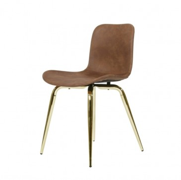 CHAIR LANGUE AVANTGARDE BRASS- BROWN LEATHER NORR 11