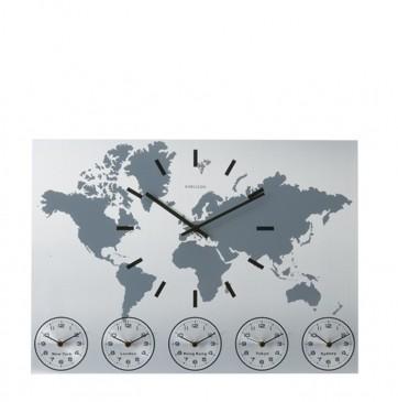 ZEGAR ŚCIENNY WORLD TIME ALUMINIUM KARLSSON