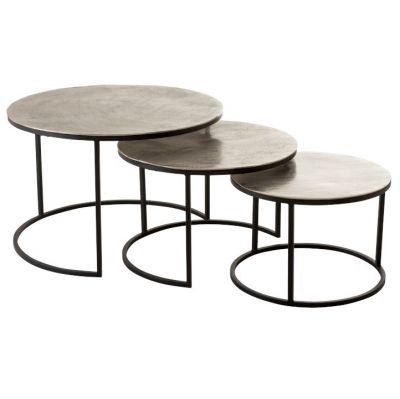 zestaw 3 okr±g³ych stolików srebrne j-line