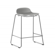 Krzesło Barowe Form Na Chromowanych Płozach Szare Normann Copenhagen